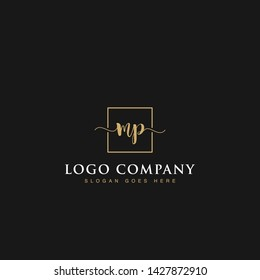 Initials signature letters MP linked inside minimalist luxurious square line box vector logo gold color designs for brand, identity, invitations, hotel, boutique, jewelry, photography or company signs