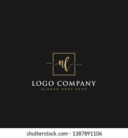 Initials signature letters NL linked inside minimalist luxurious square line box vector logo gold color designs for brand, identity, invitations, hotel, boutique, jewelry, photography or company signs