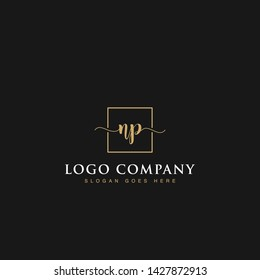 Initials signature letters NP linked inside minimalist luxurious square line box vector logo gold color designs for brand, identity, invitations, hotel, boutique, jewelry, photography or company signs