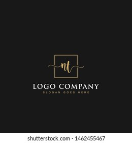 Initials signature letters NT linked inside minimalist luxurious square line border vector logo gold color design for brand, identity, invitations, hotel, boutique, jewelry, photography, company signs