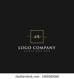 Initials signature letters OA linked inside minimalist luxurious square line box vector logo gold color designs for brand, identity, invitations, hotel, boutique, jewelry, photography or company signs