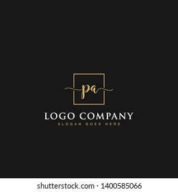 Initials signature letters PA linked inside minimalist luxurious square line box vector logo gold color designs for brand, identity, invitations, hotel, boutique, jewelry, photography or company signs