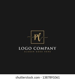 Initials signature letters PL linked inside minimalist luxurious square line box vector logo gold color designs for brand, identity, invitations, hotel, boutique, jewelry, photography or company signs