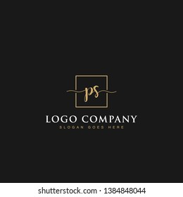 Initials signature letters PS linked inside minimalist luxurious square line box vector logo gold color designs isolated in black background for brand, hotel, boutique, jewelry, restaurant or company
