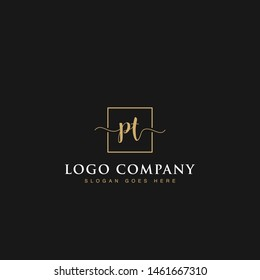 Initials signature letters PT linked inside minimalist luxurious square line border vector logo gold color design for brand, identity, invitations, hotel, boutique, jewelry, photography, company signs