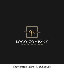 Initials signature letters QA linked inside minimalist luxurious square line box vector logo gold color designs for brand, identity, invitations, hotel, boutique, jewelry, photography or company signs