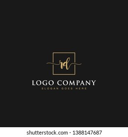 Initials signature letters RD linked inside minimalist luxurious square line box vector logo gold color designs for brand, identity, invitations, hotel, boutique, jewelry, photography or company signs