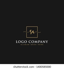 Initials signature letters SA linked inside minimalist luxurious square line box vector logo gold color designs for brand, identity, invitations, hotel, boutique, jewelry, photography or company signs