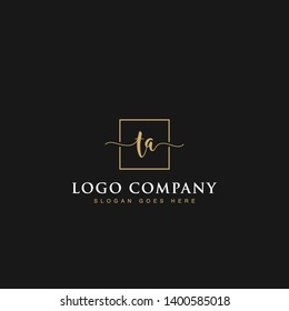 Initials signature letters TA linked inside minimalist luxurious square line box vector logo gold color designs for brand, identity, invitations, hotel, boutique, jewelry, photography or company signs