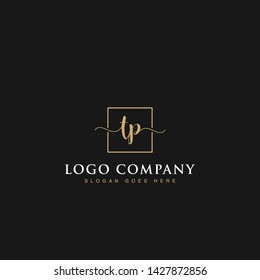 Initials signature letters TP linked inside minimalist luxurious square line box vector logo gold color designs for brand, identity, invitations, hotel, boutique, jewelry, photography or company signs