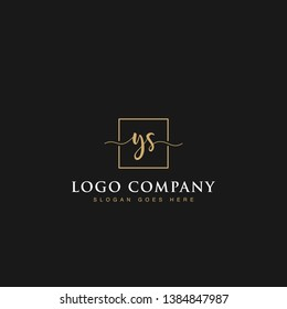 Initials signature letters YS linked inside minimalist luxurious square line box vector logo gold color designs isolated in black background for brand, hotel, boutique, jewelry, restaurant or company