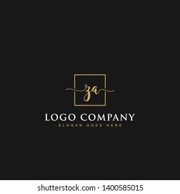Initials signature letters ZA linked inside minimalist luxurious square line box vector logo gold color designs for brand, identity, invitations, hotel, boutique, jewelry, photography or company signs