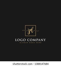 Initials signature letters ZD linked inside minimalist luxurious square line box vector logo gold color designs for brand, identity, invitations, hotel, boutique, jewelry, photography or company signs