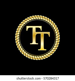 initials t and t logo luxurious golden letters with gold rope