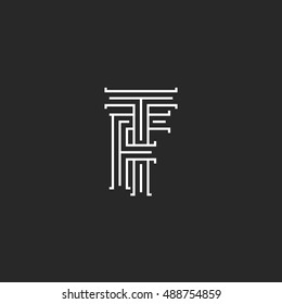 Initials TF letters logo monogram, line intersection calligraphic flat hotel emblem FT, combination connected symbols F T template