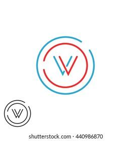 Initials VV combination monogram logo V letter, thin lines red and blue circle frame, mockup decoration design element
