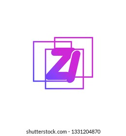 The initials Z and I colored gradient combination of blue and pink. ZI vector design logo