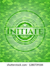 Initiate green emblem with mosaic background