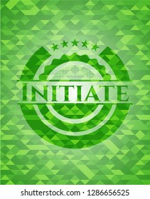 Initiate realistic green mosaic emblem