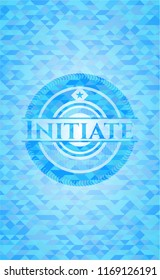 Initiate realistic light blue emblem. Mosaic background