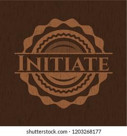 Initiate retro style wooden emblem