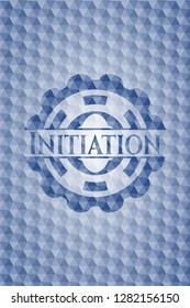 Initiation blue polygonal badge.