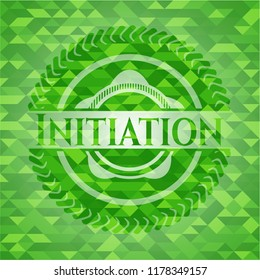 Initiation green emblem with mosaic ecological style background