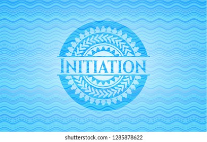 Initiation water concept style emblem.