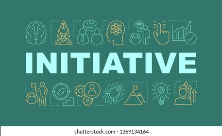 Initiative word concepts banner. Business success. Startup launch. Smart goals achieving. Isolated lettering typography idea with linear icons. Skill improvement. Vector outline illustration