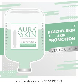 Injection Bottles of Saline and Green Color Vitamin Drip Therapy for Good Health and Beauty Skin on Abstract  Background. Vector EPS 10.