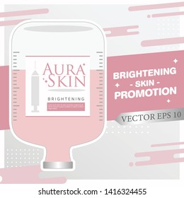 Injection Bottles of Saline and Pink Color Vitamin Drip Therapy for Good Health and Beauty Skin on Abstract  Background. Vector EPS 10.