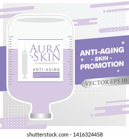 Injection Bottles of Saline and Purple Color Vitamin Drip Therapy for Good Health and Beauty Skin on Abstract  Background. Vector EPS 10.