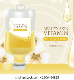 Injection Bottles of Saline and Yellow Color Vitamin Drip Therapy for Good Health and Beauty Skin on Beauty Background. Vector EPS 10.