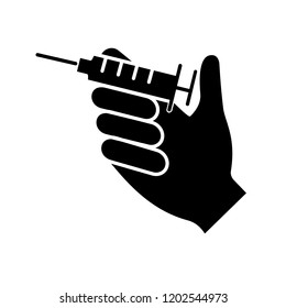 Injection glyph icon. Hand holding syringe. Doctor's hand. Neurotoxin injection. Vaccination. Treatment. Silhouette symbol. Negative space. Vector isolated illustration