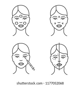 injection linear icons set. Anesthetic cream, before and after, crows feet  injection, sites. Thin line contour symbols. Isolated vector outline illustrations. Editable stroke