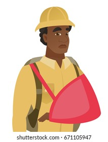 Injured african-american traveler wearing an arm brace. Traveler with broken arm in sling. Young traveler with bandaged broken arm. Vector flat design illustration isolated on white background.
