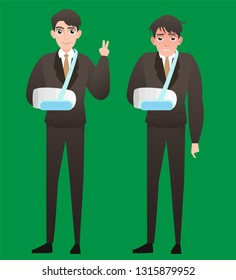 An injured businessman wearing an arm brace in Feel bad and feel good . Businessman with broken arm in sling. Full length of business man with broken arm. Vector flat design illustration isolated ,