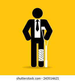injured cartoon businessman in bandage with crutches : be careful prevent accidents : safety health concept on yellow background vector