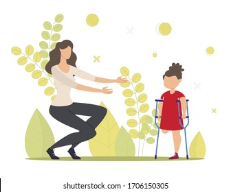 Injured Child, Kid with Disability Rehabilitation, Family Support Trendy Flat Vector Concept. Little Girl with Leg Amputation Walking with Crutches, Woman Wants to Hug Disabled Daughter Illustration