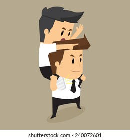 Injured colleague riding on businessman , eps10 vector format