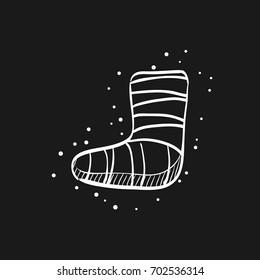 Injured foot icon in doodle sketch lines. Gypsum cast medical health broken leg