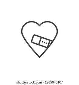 Injured Love line icon. linear style sign for mobile concept and web design. Heart fixed with plaster outline vector icon. Love and valentine day symbol, logo illustration. Pixel perfect vector