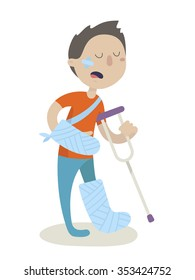 An injured man with crutch and a medical plaster on leg and arm. Safety concept. Vector flat design illustrations. Isolated on white background.