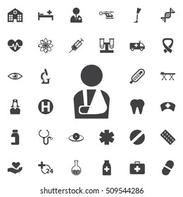 Injured man icon on the white background. Medical concept set