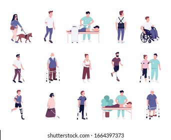 Injured people with disability activities flat color vector faceless characters set. Man and women with physical traumas rehabilitation isolated cartoon illustrations on white background