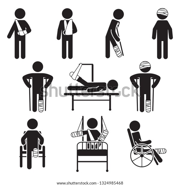 Injured people icon set. Vector.
