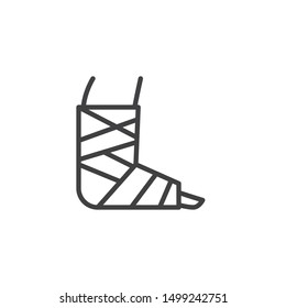 Injury Ankle with bandage line icon. linear style sign for mobile concept and web design. Broken foot with bandage outline vector icon. Symbol, logo illustration. Vector graphics