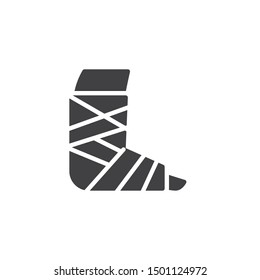 Injury Ankle with bandage vector icon. filled flat sign for mobile concept and web design. Broken foot with bandage glyph icon. Symbol, logo illustration. Vector graphics