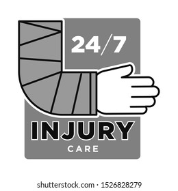 Injury care, twenty-four seven, trauma emergency medical centre monochrome grey, black and white graphic logo, hand wrapped in bandage, healthcare professional service, vector design concept
