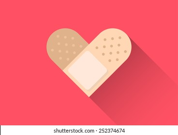 injury heart tape plaster conceptual flat design vector style